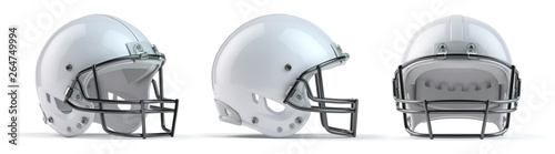 Leinwand Poster Set of white  american football helmets isolated on white background
