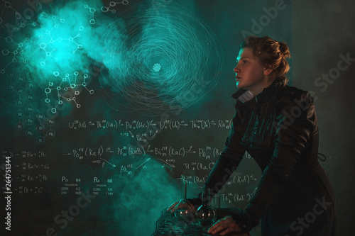 Scientist researcher on abstract background of schemes and formulas Wallpaper Mural