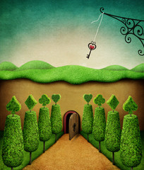 Panel Szklany Fantasy Concept fantasy illustration or poster with Small door and key, Wonderland