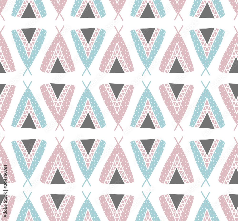 Scandinavian seamless pattern with teepee ethnic ornament. Vector children background.For fabric, clothes design, bed linen, wallpaper, scrapbooking, stamping, stickers, signboard, web design, pack.