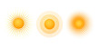 Solar radial pattern Orange abstract banner from dot Sun shape design element with a dotted pattern rays in a modern style Decorative solar symbol for creative design of summer spring theme Vector set