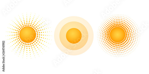 Obraz Solar radial pattern Orange abstract banner from dot Sun shape design element with a dotted pattern rays in a modern style Decorative solar symbol for creative design of summer spring theme Vector set - fototapety do salonu