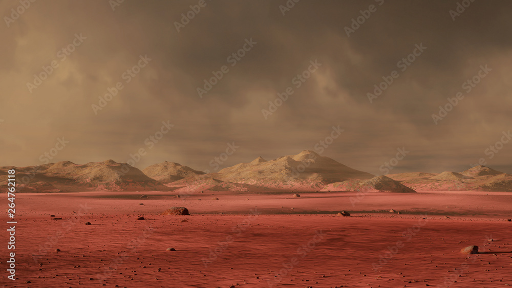 Fototapety, obrazy: landscape on planet Mars, dust storm on the red planet