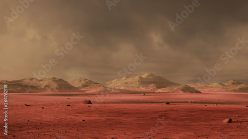 Obraz landscape on planet Mars, dust storm on the red planet - fototapety do salonu