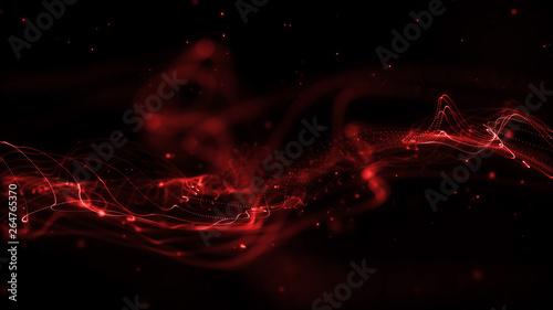 Obraz Red wave abstract background - fototapety do salonu