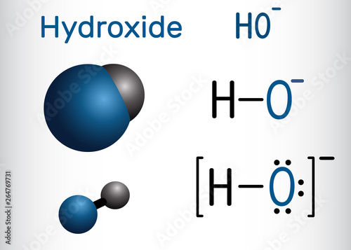 Fotografiet Hydroxide anion. Structural chemical formula and molecule model