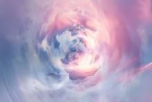 Swirling Sky Background With Clouds / Beautiful Watercolor Clouds Background, Spring Sunset, Beautiful Abstract Background