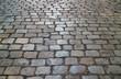 Historic cobblestone pavement in the Cerro Santa Lucia Hill public park, Santiago, Chile