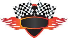 Motorsports Flame And Flag Logo Shield