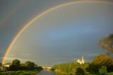 Fototapeta Tęcza - summer landscape with a rainbow