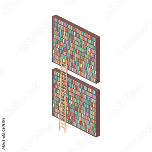 Library. Bookshelves and stairs isometric illustration Canvas Print