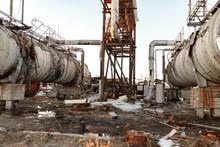 Old Rusty Oil Separators, Oil Tanks