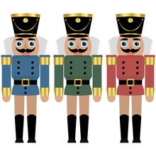 Set Of A Three Nutcracker Toy Soldier