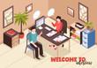 Job Interview Isometric Background