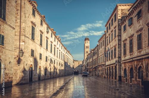 Stradun, beautiful main street of Dubrovnik old town in Croatia. Wallpaper Mural