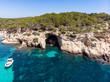 canvas print picture Aerial view, secluded cove Cala Falco or Cap de Falco and Cala Bella Donna with rugged cliffs, Sol de Mallorca, Cala Vinyes and Calvia, Mallorca, Balearic Islands, Spain