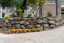 House Front Yard Landscaping With Rock Retaining Wall