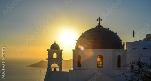 Fotografia  Greek Orthodox church on Santorini Island