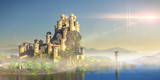 castle on a hill overlooking the ocean, stronghold with medieval village (3d fantasy illustration)