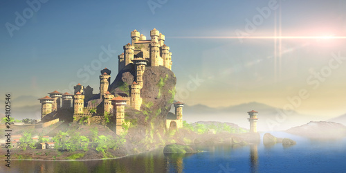 Naklejki do przedszkola  castle-on-a-hill-overlooking-the-ocean-stronghold-with-medieval-village-3d-fantasy-illustration