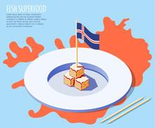 Fish Superfood Isometric Background
