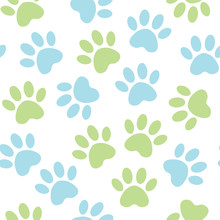 Paw Blue And Green Print Seaml...