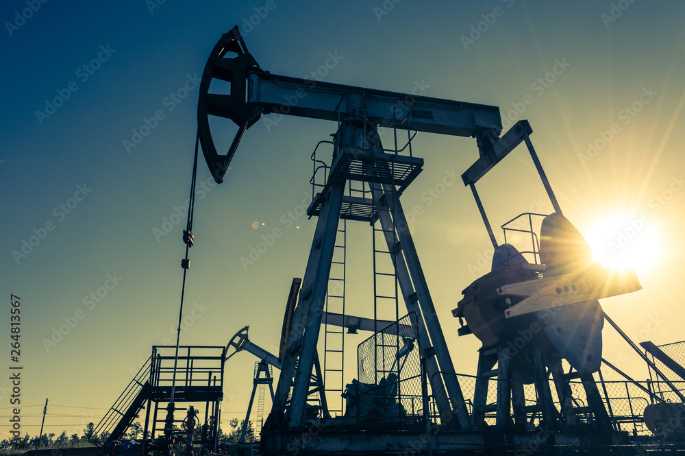 Fototapety, obrazy: Oil pumpjack, industrial equipment. Rocking machines for power generation. Extraction of oil.