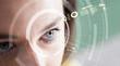 canvas print picture - Iris recognition concept. Smart wearable eye-compatible computer.