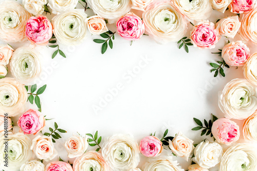 Foto auf Gartenposter Blumen Floral pattern frame made of pink ranunculus and roses flower buds on white background. Flat lay, top view floral background.