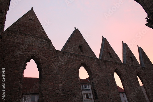 Aegidienchurch destroyed in world war 2, evening atmosphere with coloured sky Fototapeta