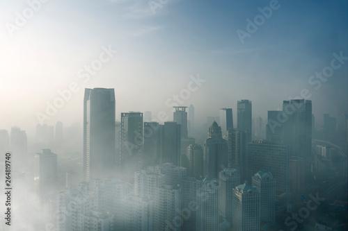 Fényképezés  Heavy air pollution in Jakarta city