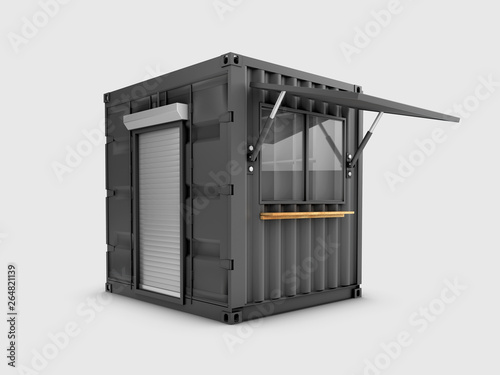 Converted old shipping container into cafe, 3d Illustration isolated gray Canvas Print