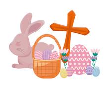 Cute Rabbit With Catholic Cros...
