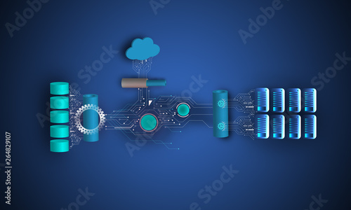 Foto Concept of cloud and on-premise application integration, connecting database, ap