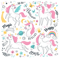 Unicorns collection. Vector illustration of cute cartoon white Unicorns in doodle style with pink mane. Isolated on white background.