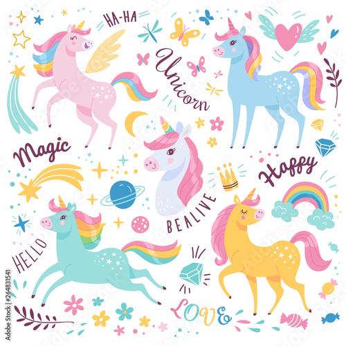 Unicorns collection. Vector illustration of cute cartoon multicolored Unicorns with rainbow mane. Isolated on white background.