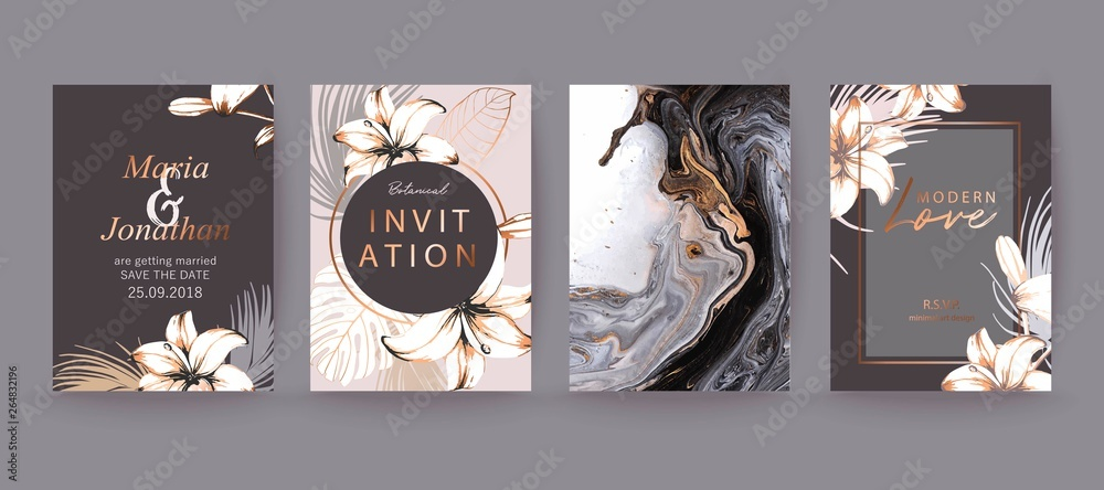 Fototapeta Black, white and gold marble texture card. Floral, lilies decorative bouquet with palm leaves.