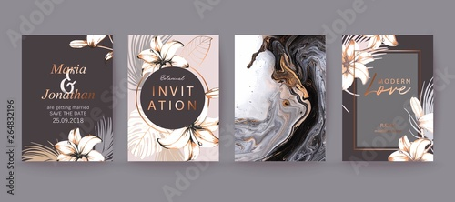 Obraz Black, white and gold marble texture card. Floral, lilies decorative bouquet with palm leaves. - fototapety do salonu