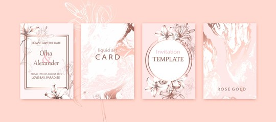 Set of elegant chic brochure, covers, cards with pink lilies, white and rose gold marble texture.