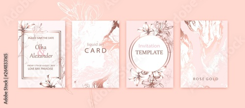 Fotografía  Set of elegant chic brochure, covers, cards with pink lilies, white and rose gold marble texture