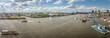canvas print picture - Panorama bei sonnigem Wetter vom Hamburger Hafen mit Landungsbrücken