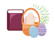 cute rabbit with basket wicker and eggs of easter