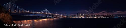 Canvas Prints San Francisco Panorama of San Francisco skyline at night with bay bridge. San Francisco California, CA, USA.