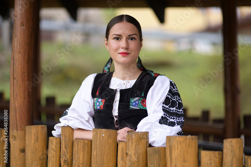Slovak folklore. Slovakian folklore girl. Canvas-taulu