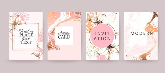 Rose gold marble texture card. Floral, lilies decorative bouquet with palm leaves.