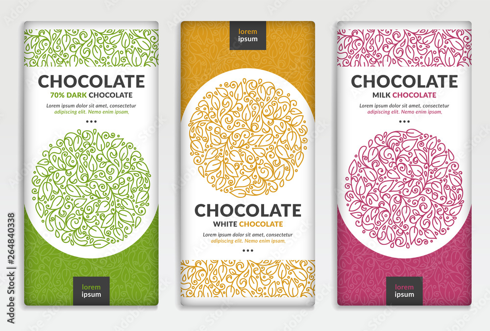Fototapety, obrazy: Colorful packaging design of chocolate bars. Vintage vector ornament template. Elegant, classic elements. Great for food, drink and other package types. Can be used for background and wallpaper.