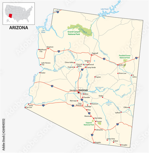 road map of the US American State of Arizona – kaufen Sie ...