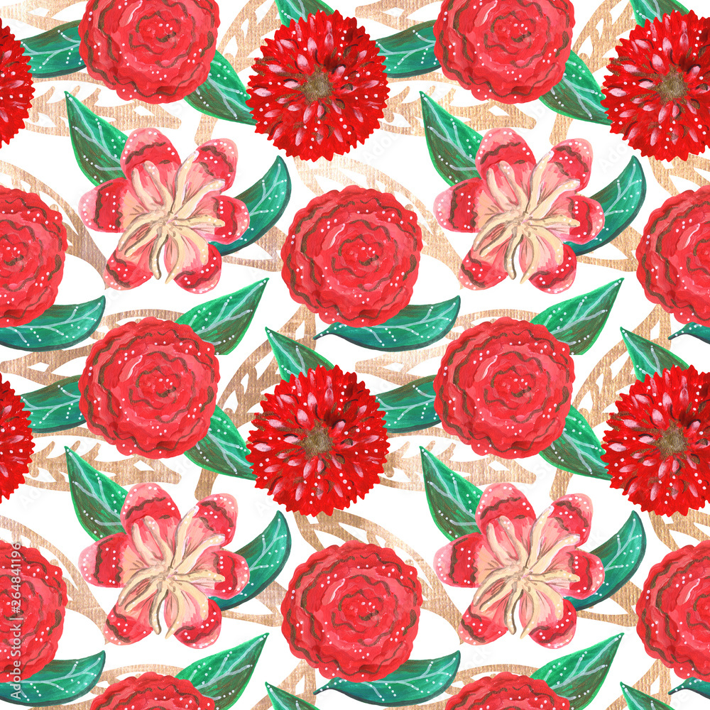Seamless pattern of gouache red ornamental tropical and mexican flowers and green leaves with golden elements