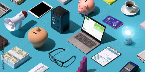 canvas print motiv - stokkete : Business and finance desktop