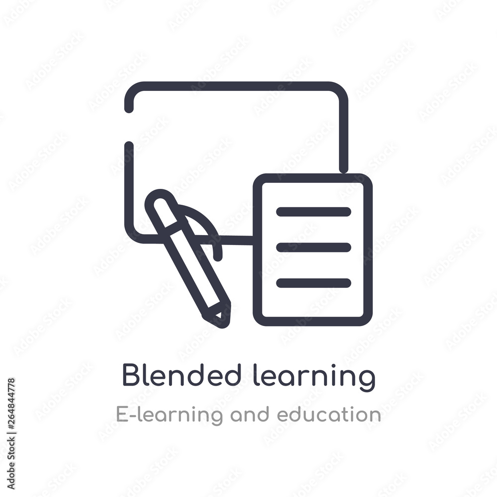 Fototapeta blended learning outline icon. isolated line vector illustration from e-learning and education collection. editable thin stroke blended learning icon on white background